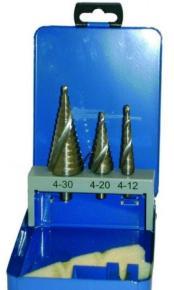 Sada stupňovitých vrtákov Makita HSS-Co + TiN so špirálovou drážkou